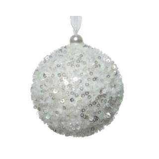 foam bauble with hanger winter white