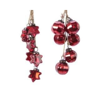 gl bauble bundle hanger 2ass Christmas red