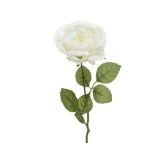 silk rose with snow on stem
