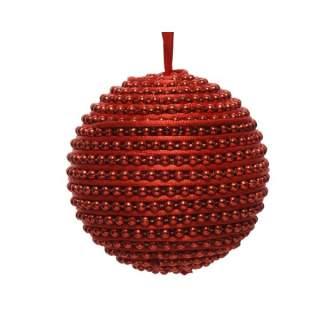 foam bauble w beads w ribbon red