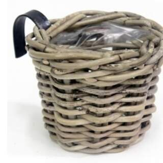 BALCONY BASKET ROUND GREY D15H15CM