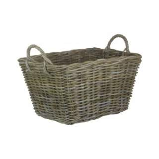 Rectangular Grey Rattan Floor Storage Medium