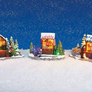 Christmas market stall with lights poly 3-ass, 13x10x7cm