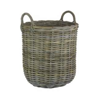 Tall Round Fireside Grey Rattan Log Basket Large