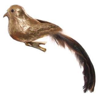 Feather bird gold brown tail on clip