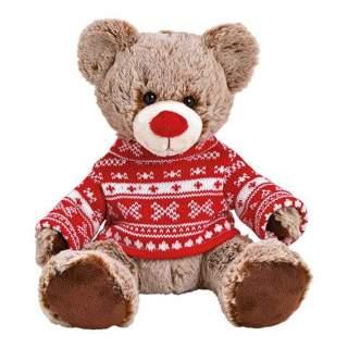 Bear plush, brown, red pullover, 22x24x20cm
