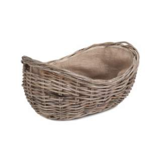 Boat Shaped Rattan Log Basket with Hessian Large
