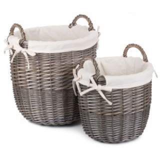 Antique wash linen Bin with White Linen Medium