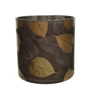 glass hurricane glitter leafs brown