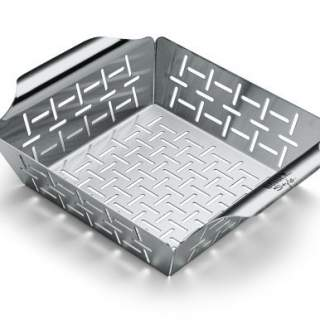 DELUXE GRILLING BASKET - SMALL, STAINLESS STEEL WITH HIGH SIDES