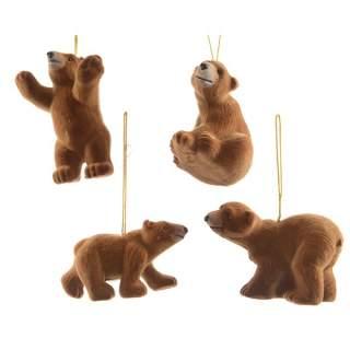 plc bear w flock w hanger 4ass8cm