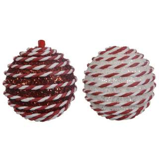 foam bauble w hanger 2col ass red/white
