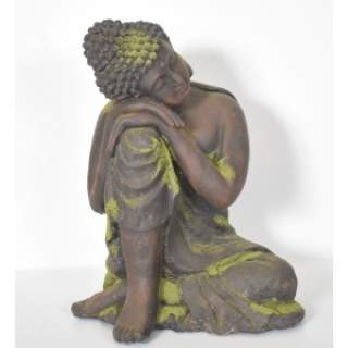 BUDDAH SLEEPING ORNAMENT D42H54 Resin Brown and Moss