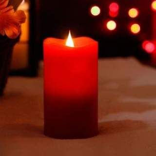 LED wax waving candle ind bo dia7.5x15cm-1L Christmas Red