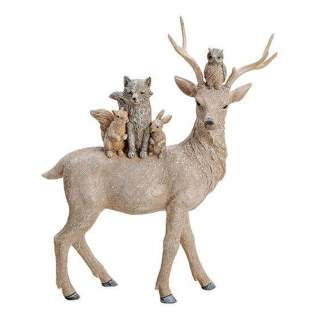 Deer, made of polyresin, beige color with glitter,   28x35x10cm