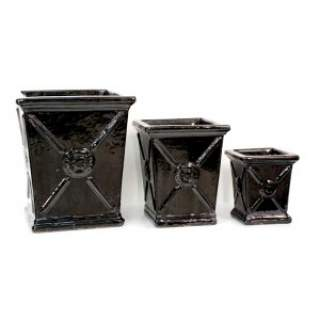 SQ. CRESTED PLANTER S25H30 Black