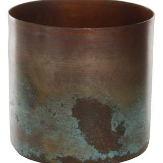 Metal cylinder copper green small