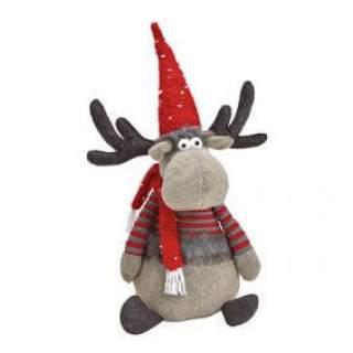 Elk textile grey/red  32x60x25cm
