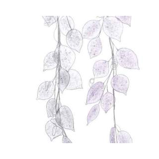 leaf garland w glitter 2 col ass