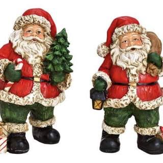 Santa, poly, 2 asst. 9x13x9cm