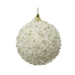 foam bauble w beads wool white