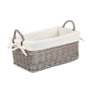 Shallow Lined Antique Wash Storage Basket Large