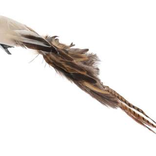 Bird with clip mixed feather tail beige-brown