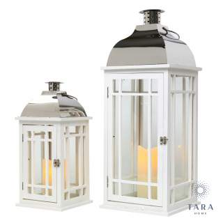 JULIE WOODEN LANTERN WHITE/CHROME LRG