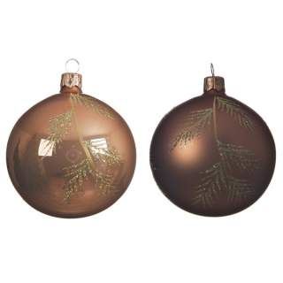 gl deco bauble w branch 2ass camel brown